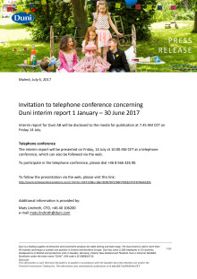 Invitation to telephone conference concerning Duni interim report 1 January – 30 June 2017