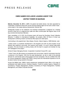 CBRE NAMED EXCLUSIVE LEASING AGENT FOR UNITED TOWER IN BAHRAIN