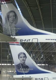 Fredrika Bremer och Karin Larsson pryder nu Norwegians flygplan