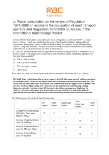 RAC response to the EU proposals on operator licencing