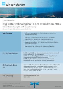 "Programm VDI-Fachkonferenz ""Big Data Technologien in der Produktion"""