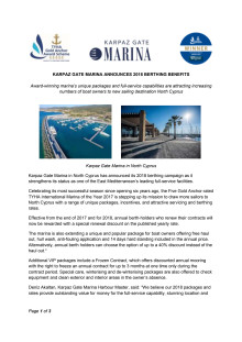 Karpaz Gate Marina Announces 2018 Berthing Benefits