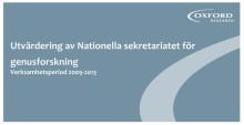 Utvärdering av Nationella sekretariatet för genusforskning visar positiva resultat