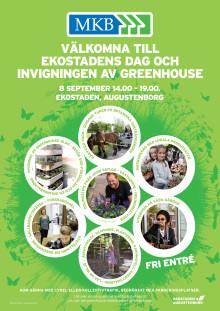 Affisch Ekostadens dag och invigningen av Greenhouse