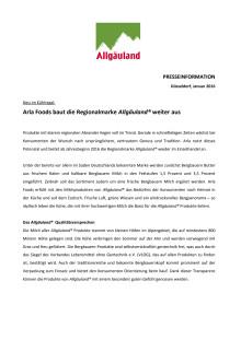 Pressemitteilung: Arla Foods baut die Regionalmarke Allgäuland® weiter aus