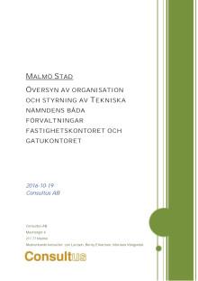 Slutrapport översyn av organisation och styrning av Tekniska nämndens båda förvaltningar