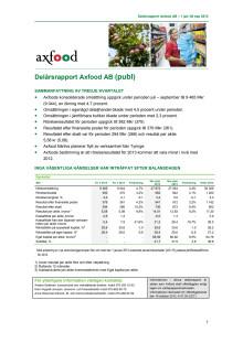 Delårsrapport Q3 2013