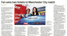 Fan wins two tickets to Manchester City match!