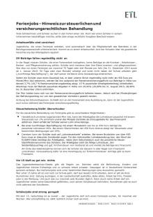 ETL-Merkblatt: Ferienjobs – Hinweis zur steuerlichen und versicherungsrechtlichen Behandlung