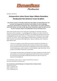 Entreprenören Johan Ekman köper tillbaka EkmanBuss Flexibussitet från Strömma Turism & Sjöfart