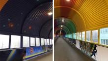 Starka färger samsas med samtida gobeläng i gångtunnel