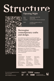 INVITASJON:  STRUCTURE - Norwegian contemporary crafts and design  - Opening Night 14. April 2016