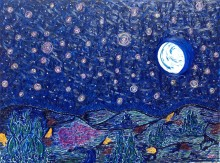 """Never Alone!""  An expressionist painting. Showing that the light is always shining, in the moon, the stars and beyond the horizon."
