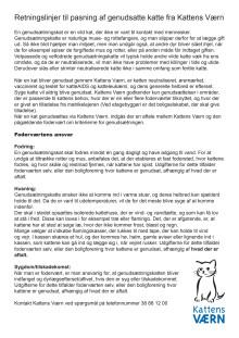 Retningslinjer til pasning af genudsatte katte fra Kattens Værn