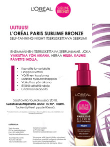 L'Oréal Paris Sublime Bronze -itseruskettava yöseerumi