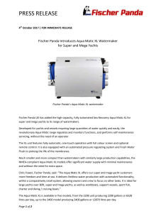 Fischer Panda Introduces Aqua Matic XL Watermaker  for Super and Mega Yachts