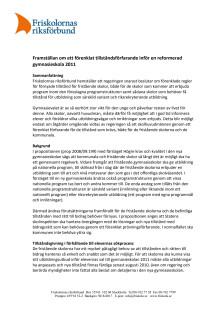 Framställan om ett förenklat tillståndsförfarande inför en reformerad gymnasieskola 2011