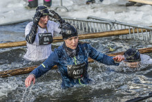 Ice swim ends the brutal winter edition of Tough Viking obstacle race in the arctic resort Are in Northern Sweden, March 21, 2015
