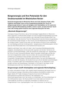 Hintergrundpapier zu Potenzialen der Bürgerenergie