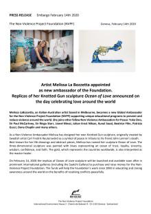 "Replicas of Melissa La Bozzetta's Knotted Gun sculpture ""Ocean of Love"" announced on the day celebrating love around the world"
