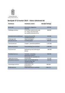 Beviljade insatser i Västra Götaland 1