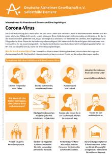 Neues Infoblatt informiert Menschen mit Demenz und Angehörige zum Corona-Virus