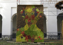 Målningen Vertumnus - årstidernas gud - återskapas med 800 kg potatis och äpplen på Skoklosters slott!