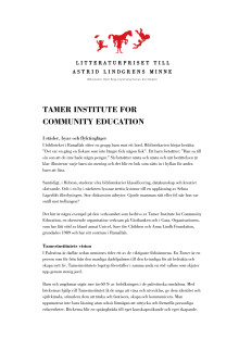 Biobibliografi: Tamer Institute for Community Education