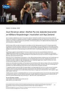 Duni förvärvar aktier i BioPak Pty Ltd, ledande leverantör av hållbara förpackningar i Australien och Nya Zeeland