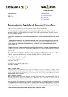 Pressmeddelande: Samarbetet mellan Ragn-Sells och Cassandra Oil intensifieras
