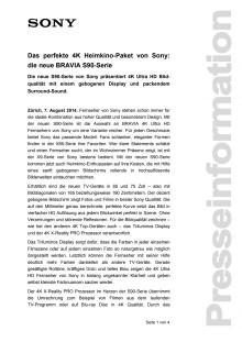 Medienmitteilung_BRAVIA S90_D-CH_140807