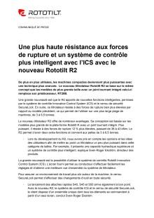 Une plus haute résistance aux forces de rupture et un système de contrôle plus intelligent avec l'ICS avec le nouveau Rototilt R2