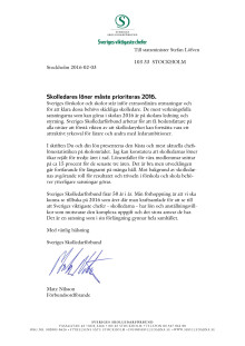 Skrivelse till regeringen om skolledares löner