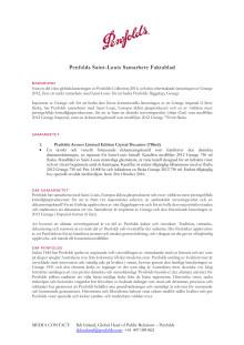 Penfolds Saint-Louis Samarbete Faktablad