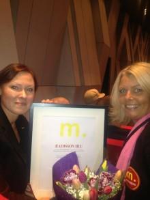 """Radisson Blu Hotel Uppsala vann Guld-M:et i kategorin """"Årets Sociala Medier"""""""