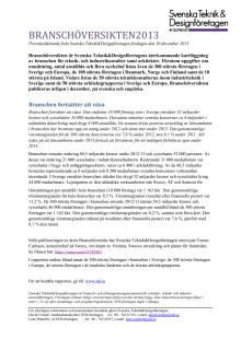 Pressmeddelande Branschöversikten 2013