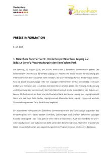 1. Bärenherz Sommernacht:  Kinderhospiz Bärenherz Leipzig e.V.  lädt zur Benefiz-Veranstaltung in den Kees'schen Park