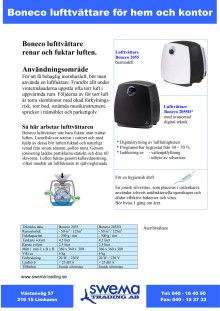 Lufttvättare Air-O-Swiss / Boneco 2055D / W2055A produktblad
