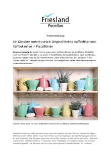 Ein Klassiker kommt zurück: Original Melitta-Kaffeefilter und Kaffeekannen in Pastelltönen