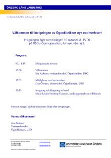 Inbjudan till Ögonklinikens invigning av eximerlaser