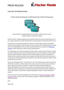 Fischer Panda UK Responds to NHS Demand for COVID-19 Equipment