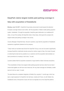 EasyPark claims largest mobile paid parking coverage in Italy with acquisition of Sostafacile