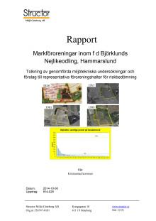 Rapport - Markföroreningar inom fd Björklunds Nejlikeodling, Hammarslund