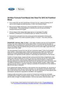 ALL-NEW FORMULA FORD RACES INTO VIEW FOR 2012 AT FRANKFURT SHOW