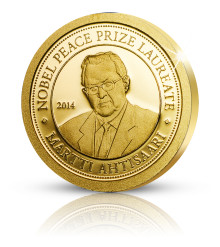 President Martti Ahtisaari uppmärksammas med minnesmynt i guld