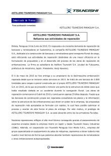 ASTILLERO TSUNEISHI PARAGUAY S.A. Refuerza sus actividades de reparación