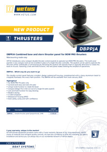 The VETUS DBPPJA combined bow and stern thruster panel for BOW PRO thrusters - Information Sheet