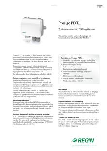 Produktblad för Presigo, kommunicerande trycktransmittrar med en eller två givare.