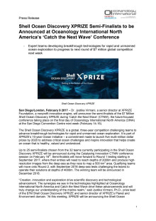 Shell Ocean Discovery XPRIZE Semi-Finalists to be Announced at Oceanology International North America's 'Catch the Next Wave' Conference