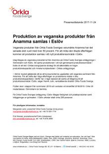 Produktionen av Anammas veganska produkter samlas i Eslöv